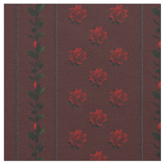 KRW Gothic Red Roses Stripe Fabric
