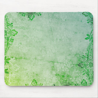 KRW Lime Sherbert Watercolor Floral Grunge Mouse Pad