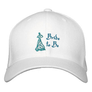 KRW Teal Blue Bride to Be Embroidered Hat