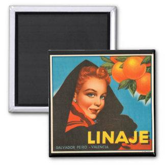 KRW Vintage Linaje Orange Fruit Crate Label Magnet