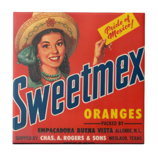 KRW Vintage Sweet-Mex Orange Crate Label Magnet Tile