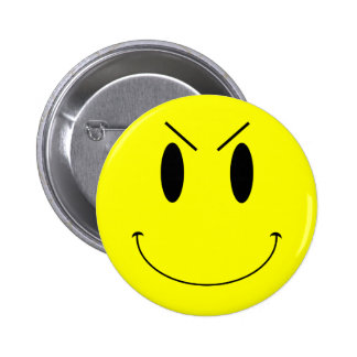KRW Yellow Evil Smiley Face 6 Cm Round Badge