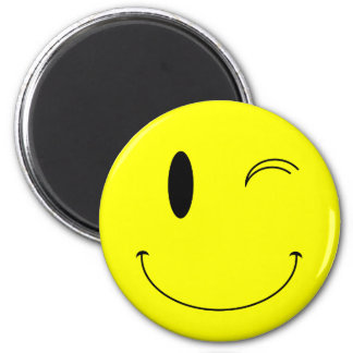 KRW Yellow Winking Smiley Face 6 Cm Round Magnet