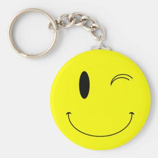 KRW Yellow Winking Smiley Face Basic Round Button Key Ring
