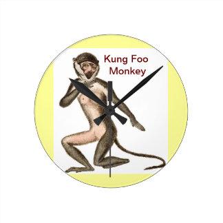 Kung Foo Monkey Round Clock