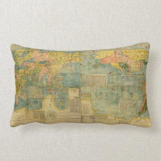 Kunyu Wanguo Quantu 1602 Japanese World Map Lumbar Cushion