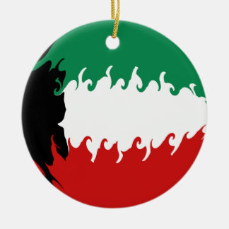 Kuwait Gnarly Flag Round Ceramic Decoration