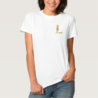 L floral monogram embroidered womens shirt polo