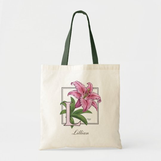 L for Lily Flower Monogram Tote Bag