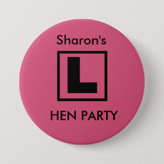 """L Plate"" Hen night badge (black on pink)"