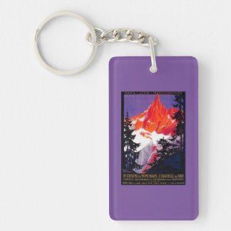 La Chaine De Mont-Blanc Vintage PosterEurope Double-Sided Rectangular Acrylic Key Ring