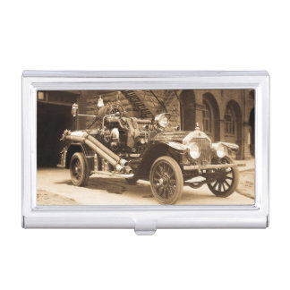 La France Fire Truck Vintage 1924 Marine City Business Card Holder