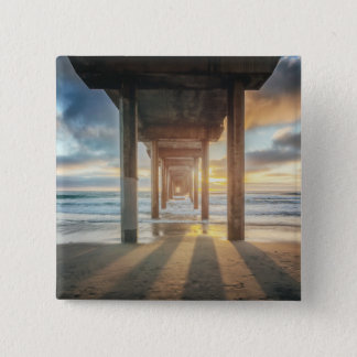 La Jolla, Scripps'S Pier At Sunset   San Diego 15 Cm Square Badge