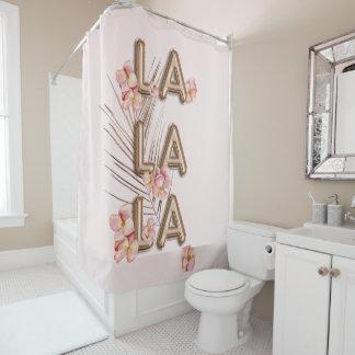 LA LA LA- Girly Trendy RoseGold Flower Motivation Shower Curtain