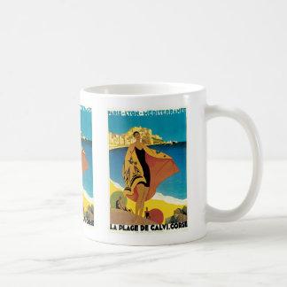 La Plage de Calvi, Corse Basic White Mug