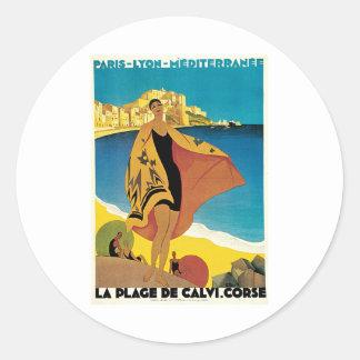 La Plage De Calvi Corse France Round Sticker
