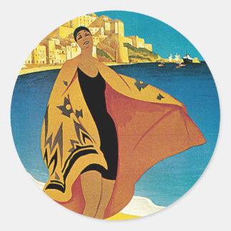 La Plage de Calvi, Corse Round Sticker
