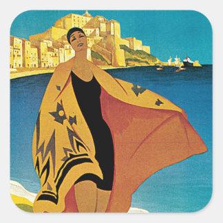 La Plage de Calvi, Corse Square Stickers