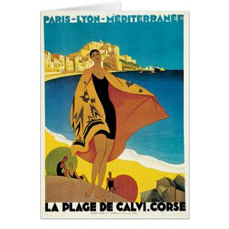 La Plage de Calvi, France vintage travel poster Note Card