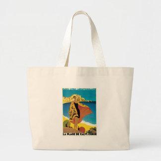 La Plage de Calvi, France vintage travel poster Jumbo Tote Bag