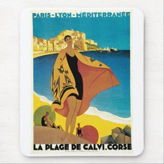 La Plage de Calvi, France vintage travel poster Mouse Pad