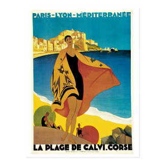 La Plage de Calvi, France vintage travel poster Post Cards
