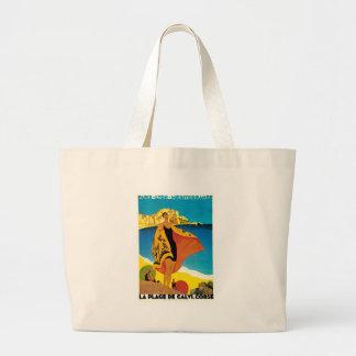 La Plage de Calvi Vintage France Travel Art Tote Bags