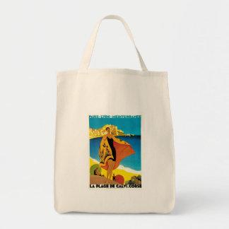 La Plage de Calvi Vintage France Travel Art Canvas Bag