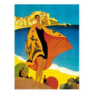 La Plage de Calvi Vintage France Travel Art Postcards