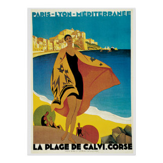 La Plage De Calvi Vintage Travel Poster