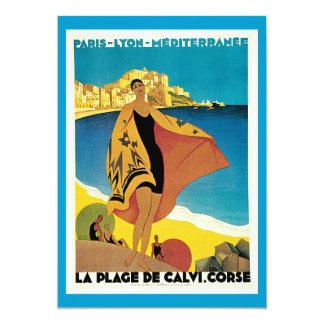 La Plage De Calvi Vintage Travel Poster Personalized Announcement