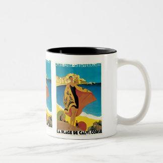 """ La Plage de Calvi"" Vintage Travel Poster Two-Tone Mug"