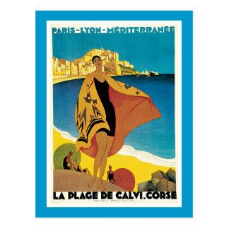 La Plage De Calvi Vintage Travel Poster Post Card