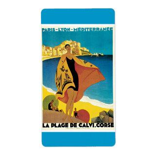 La Plage De Calvi Vintage Travel Poster Shipping Label
