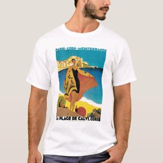 La Plage De Calvi Vintage Travel Poster T-Shirt