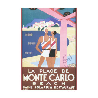 La Plage de Monte Carlo Beach Vintage Travel Poste Canvas Print