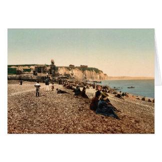 La plage et le casino, Dieppe, France vintage Phot Greeting Card