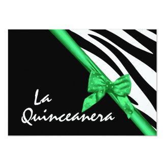 La Quinceanera Zebra and Ribbon Green 13 Cm X 18 Cm Invitation Card