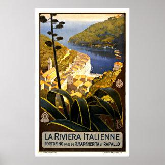 La Riviera Italienne France Vintage Travel Poster