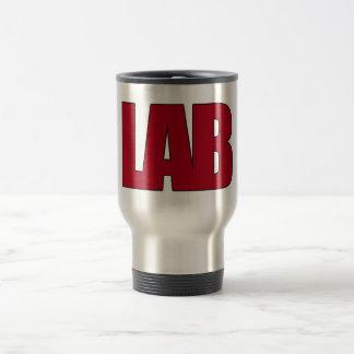 LAB - BIG RED BOLD MEDICAL LABORATORY LOGO STAINLESS STEEL TRAVEL MUG