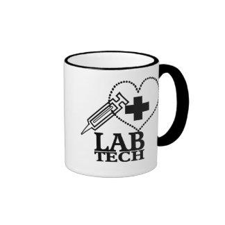 LAB TECH HEART. SYRINGE LOGO MEDICAL LABORATORY SC RINGER MUG