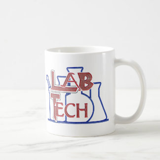Lab Tech with Beakers and Flasks (Laboratory Tech) Basic White Mug
