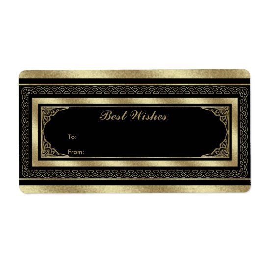 Label Gift Tag Brocade Black Gold Shipping Label