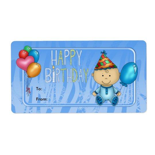 Label Kids Gift Tag Birthday Blue