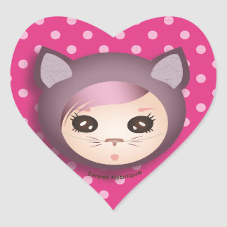 """Labels """"Kitty Miss"""" - Collection Kiwi Fraud Heart Sticker"""