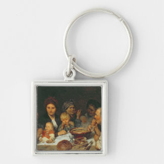 Labourers at a Table, Thueringen, 1875 Key Ring