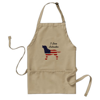 Labrador Outline in Stars and Stripes Standard Apron