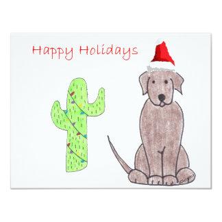Labrador Retriever Chocolate Cactus Christmas Invitation