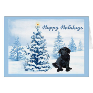 Labrador Retriever  Christmas Card Blue Tree10