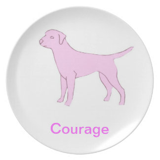 Labrador Retriever Courage Cancer Awareness Plate